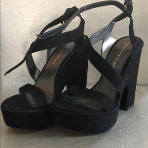 Stuart Weitzman black suede platform heels